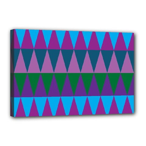 Blue Greens Aqua Purple Green Blue Plums Long Triangle Geometric Tribal Canvas 18  X 12