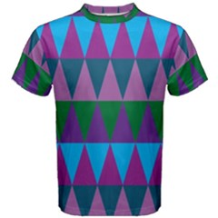 Blue Greens Aqua Purple Green Blue Plums Long Triangle Geometric Tribal Men s Cotton Tee