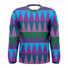 Blue Greens Aqua Purple Green Blue Plums Long Triangle Geometric Tribal Men s Long Sleeve Tee by Alisyart