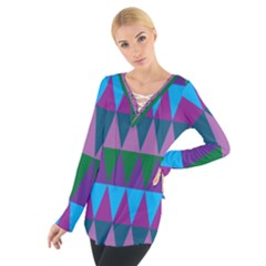 Blue Greens Aqua Purple Green Blue Plums Long Triangle Geometric Tribal Women s Tie Up Tee