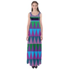 Blue Greens Aqua Purple Green Blue Plums Long Triangle Geometric Tribal Empire Waist Maxi Dress