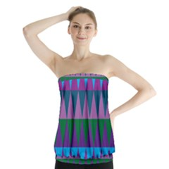 Blue Greens Aqua Purple Green Blue Plums Long Triangle Geometric Tribal Strapless Top
