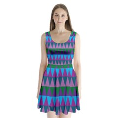 Blue Greens Aqua Purple Green Blue Plums Long Triangle Geometric Tribal Split Back Mini Dress