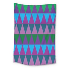 Blue Greens Aqua Purple Green Blue Plums Long Triangle Geometric Tribal Large Tapestry by Alisyart