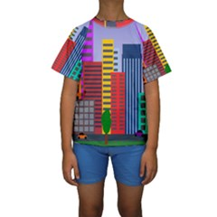 City Skyscraper Buildings Color Car Orange Yellow Blue Green Brown Kids  Short Sleeve Swimwear