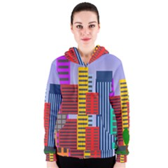City Skyscraper Buildings Color Car Orange Yellow Blue Green Brown Women s Zipper Hoodie