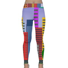 City Skyscraper Buildings Color Car Orange Yellow Blue Green Brown Classic Yoga Leggings by Alisyart