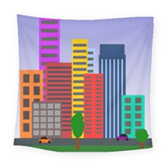 City Skyscraper Buildings Color Car Orange Yellow Blue Green Brown Square Tapestry (large) by Alisyart