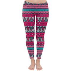 Aztec Geometric Red Chevron Wove Fabric Classic Winter Leggings