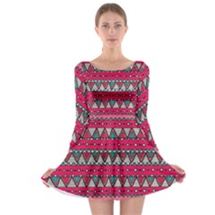 Aztec Geometric Red Chevron Wove Fabric Long Sleeve Skater Dress