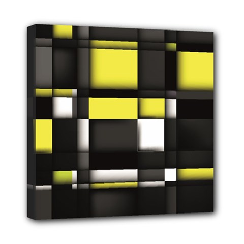 Color Geometry Shapes Plaid Yellow Black Mini Canvas 8  X 8  by Alisyart