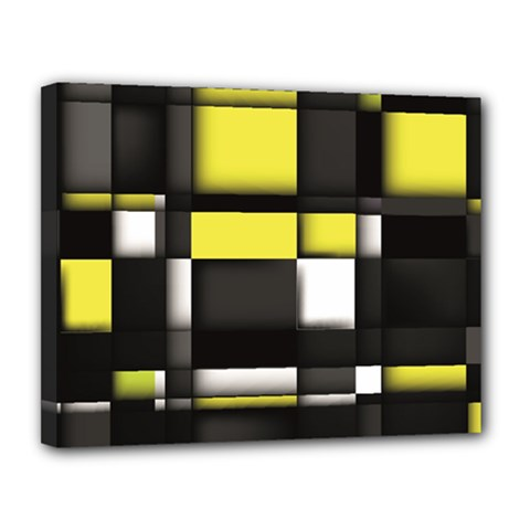 Color Geometry Shapes Plaid Yellow Black Canvas 14  X 11  by Alisyart