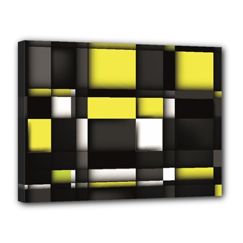 Color Geometry Shapes Plaid Yellow Black Canvas 16  X 12  by Alisyart