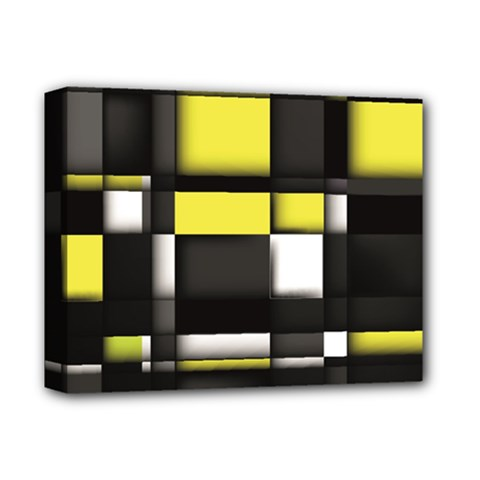 Color Geometry Shapes Plaid Yellow Black Deluxe Canvas 14  X 11  by Alisyart