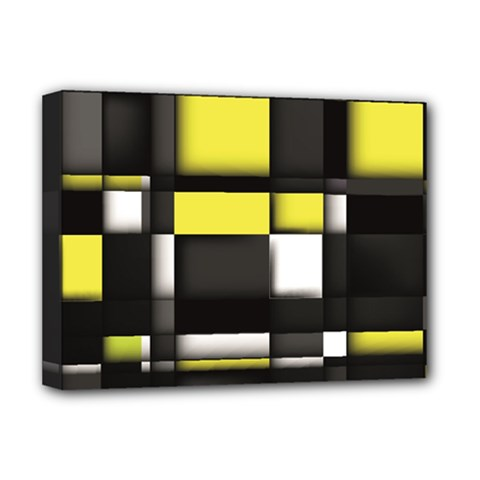 Color Geometry Shapes Plaid Yellow Black Deluxe Canvas 16  X 12   by Alisyart