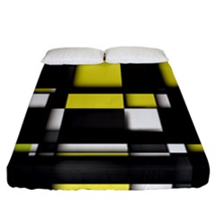 Color Geometry Shapes Plaid Yellow Black Fitted Sheet (california King Size)