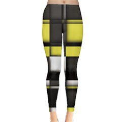 Color Geometry Shapes Plaid Yellow Black Classic Winter Leggings