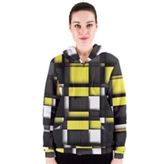 Color Geometry Shapes Plaid Yellow Black Women s Zipper Hoodie
