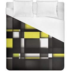Color Geometry Shapes Plaid Yellow Black Duvet Cover (california King Size) by Alisyart