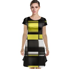 Color Geometry Shapes Plaid Yellow Black Cap Sleeve Nightdress by Alisyart