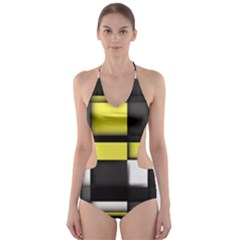 Color Geometry Shapes Plaid Yellow Black Cut Out One Piece Swimsuit