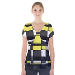 Color Geometry Shapes Plaid Yellow Black Short Sleeve Front Detail Top