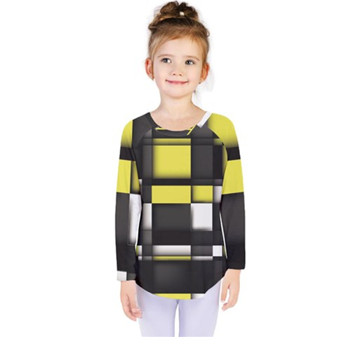 Color Geometry Shapes Plaid Yellow Black Kids  Long Sleeve Tee by Alisyart