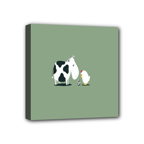Cow Chicken Eggs Breeding Mixing Dominance Grey Animals Mini Canvas 4  X 4