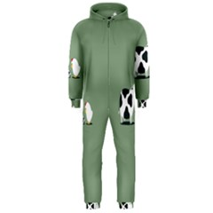 Cow Chicken Eggs Breeding Mixing Dominance Grey Animals Hooded Jumpsuit (men)