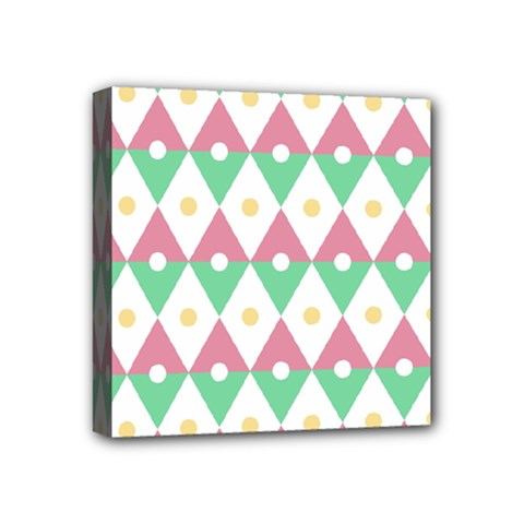 Diamond Green Circle Yellow Chevron Wave Mini Canvas 4  X 4  by Alisyart