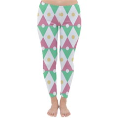 Diamond Green Circle Yellow Chevron Wave Classic Winter Leggings