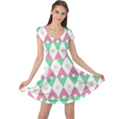 Diamond Green Circle Yellow Chevron Wave Cap Sleeve Dresses by Alisyart