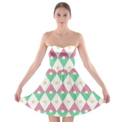 Diamond Green Circle Yellow Chevron Wave Strapless Bra Top Dress