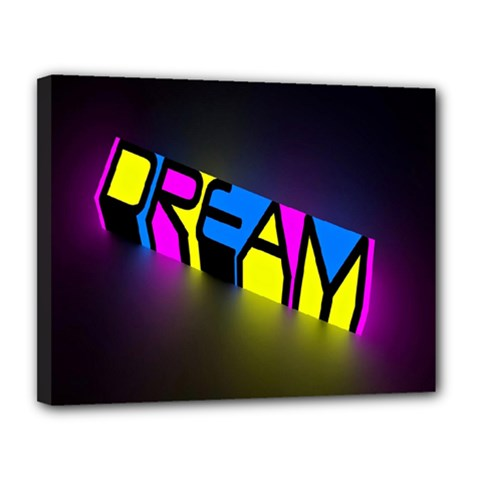 Dream Colors Neon Bright Words Letters Motivational Inspiration Text Statement Canvas 14  X 11