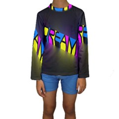 Dream Colors Neon Bright Words Letters Motivational Inspiration Text Statement Kids  Long Sleeve Swimwear