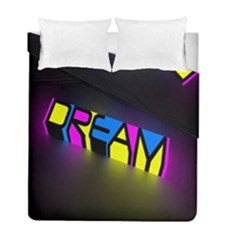 Dream Colors Neon Bright Words Letters Motivational Inspiration Text Statement Duvet Cover Double Side (full/ Double Size)
