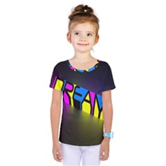 Dream Colors Neon Bright Words Letters Motivational Inspiration Text Statement Kids  One Piece Tee