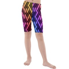 Colorful Abstract Plaid Rainbow Gold Purple Blue Kids  Mid Length Swim Shorts by Alisyart