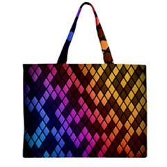 Colorful Abstract Plaid Rainbow Gold Purple Blue Zipper Mini Tote Bag