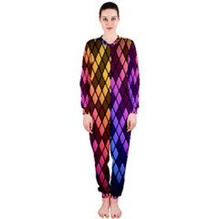 Colorful Abstract Plaid Rainbow Gold Purple Blue Onepiece Jumpsuit (ladies)