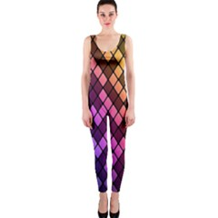 Colorful Abstract Plaid Rainbow Gold Purple Blue Onepiece Catsuit by Alisyart