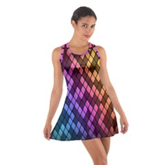 Colorful Abstract Plaid Rainbow Gold Purple Blue Cotton Racerback Dress