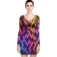 Colorful Abstract Plaid Rainbow Gold Purple Blue Long Sleeve Velvet Bodycon Dress