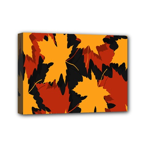 Dried Leaves Yellow Orange Piss Mini Canvas 7  X 5  by Alisyart