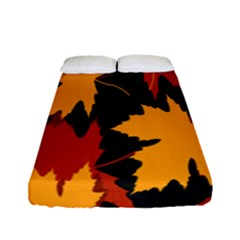 Dried Leaves Yellow Orange Piss Fitted Sheet (full/ Double Size) by Alisyart