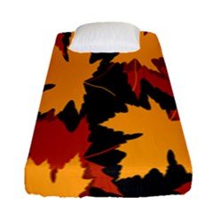 Dried Leaves Yellow Orange Piss Fitted Sheet (single Size) by Alisyart