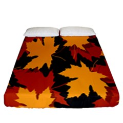 Dried Leaves Yellow Orange Piss Fitted Sheet (california King Size) by Alisyart