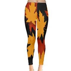 Dried Leaves Yellow Orange Piss Classic Winter Leggings