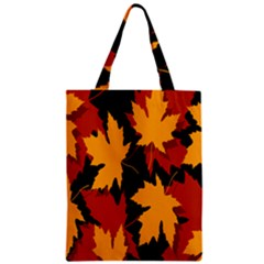 Dried Leaves Yellow Orange Piss Zipper Classic Tote Bag