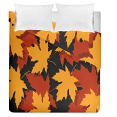 Dried Leaves Yellow Orange Piss Duvet Cover Double Side (queen Size) by Alisyart